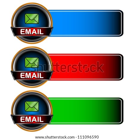 Three multi-colored email icons on a white background