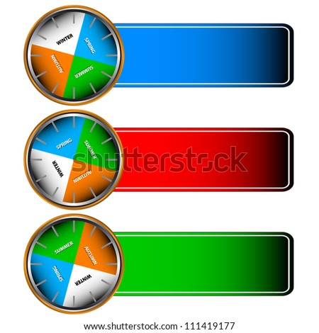 Three multi-colored forms with icons of four seasons