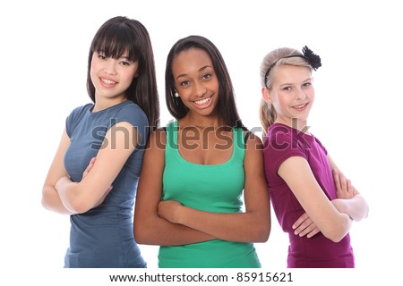 Three multi cultural teenage school student friends made up of mixed race african american, oriental Japanese and caucasian all happy and smiling together.