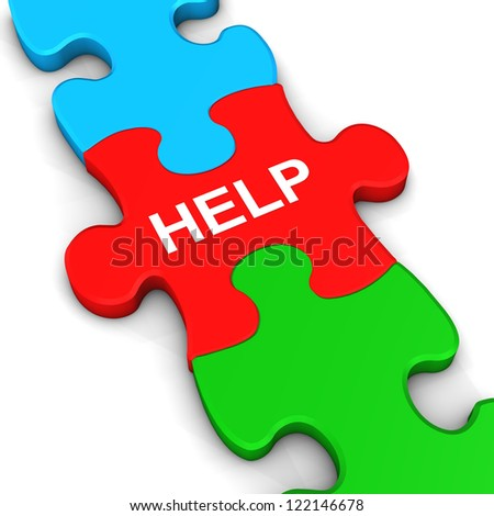 """Three multicolored puzzle pieces with the text """"help""""."""