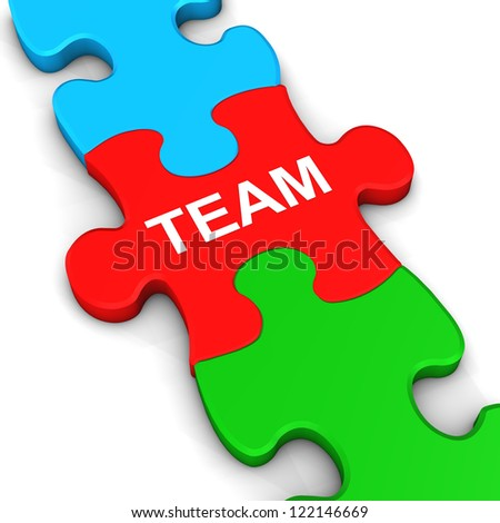 "Three multicolored puzzle pieces with the text ""team""."