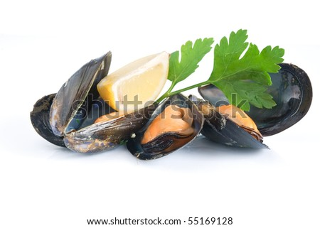 three mussels boiled with lemon and parsley isolated on white background - stock photo
