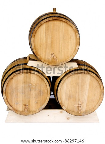 Three new barrels for wine isolated on white background