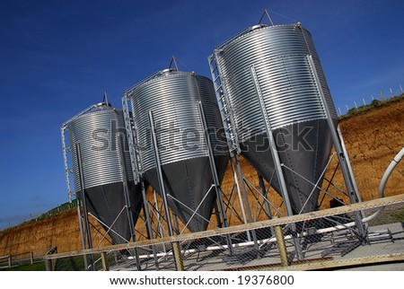 Three new silos on a poultry farm