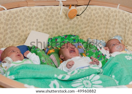 stock photo : Three nice newborn kids lie in a cot.
