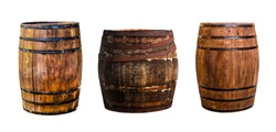 three oak barrels vertical narrow and wide for storing bourbon to give flavor on an isolated background