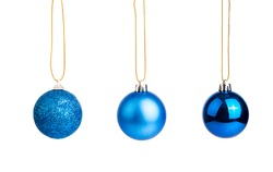 Three of blue christmas tree baubles  isolated on white background