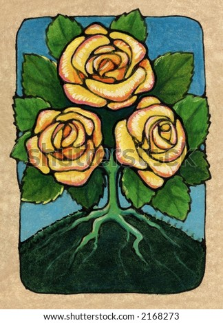 three of roses, from my Tarot of the Roses