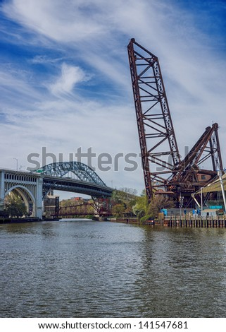 Three of the many bridges located along the Cuyahoga River in Cleveland, Ohio - stock photo