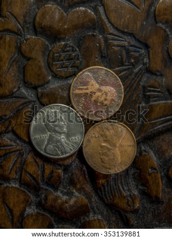 three old american pennies side ...