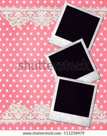 three old photo frames over pink white polka dot background with lace border