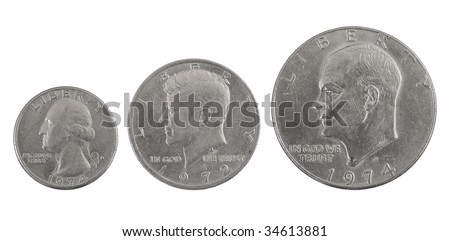 Old Quarter Dollar Coins http://www.shutterstock.com/pic-34613881/stock-photo-three-old-silver-usa-coins-one-half-and-a-quarter-of-dollar.html