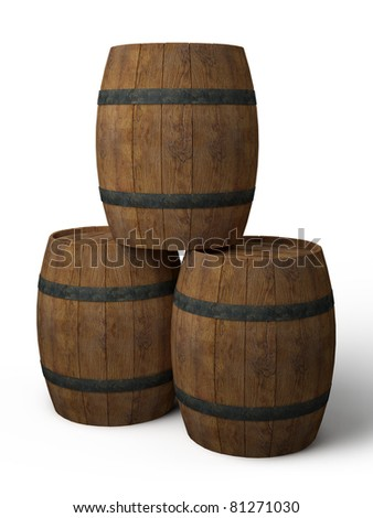 three old wooden barrels - 3d illustration isolated on white
