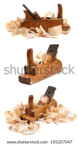 three old wooden carpenter's planes