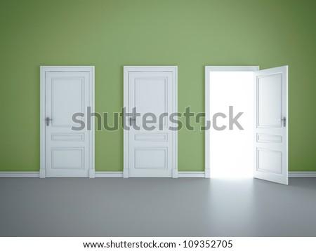 three open doors in green room