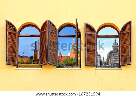 Three open windows with shutters and a view of three European cities - Dusseldorf (Germany), Moscow (Russia) and Amsterdam (Netherlands)