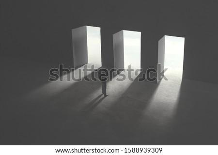 three options concept, man in doubt in front of three open door