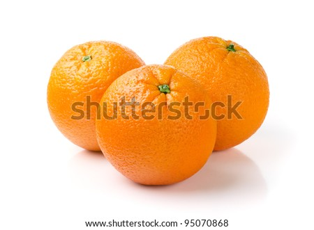 Three Oranges Isolated on White Background