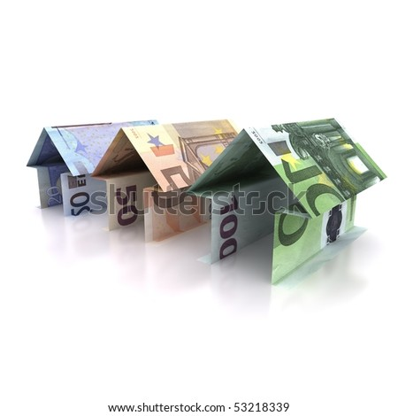 Three Origami house of  euro isolated on white background
