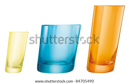 three originals colored drink glasses in three sizes, small, medium, big