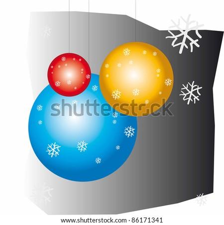 Three ornamental balls of tree of navidad of colors