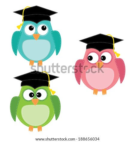 Three owls with graduation caps, for scrapbooking, on isolated white background