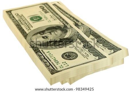 Three packs of the dollars, is isolated on white background.