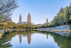 Three Pagoda Reflections at Chongsheng Temple, Dali, Yunnan, China