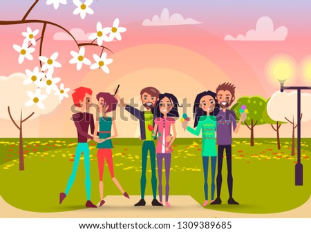 Three pair with rose and ice cream in spring park raster illustration. Enamored happy people makes selfie, admires each other