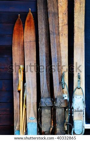 Three pairs of a 100-year old ski