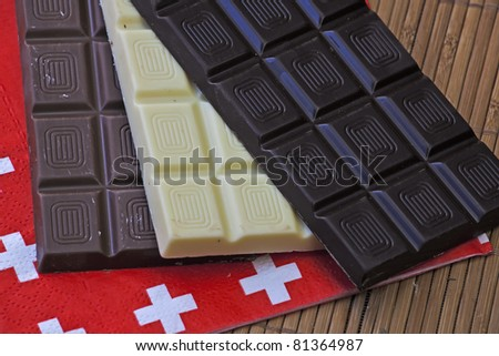 three panels swiss chocolate on a place mat with a napkin with Swiss flag