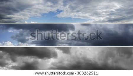 Three panoramas of cloudy sky over horizon. Storm, rainy sky. Thunderclouds.