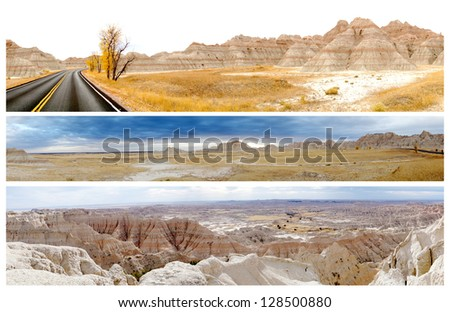 Three panoramic pictures of Badlands National Park, South Dakota, United States