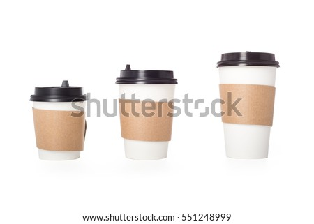 three paper coffee cups...