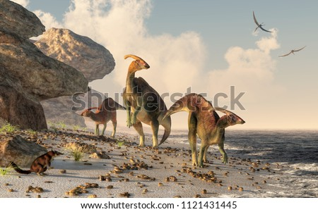 three parasaurolophus stand on...