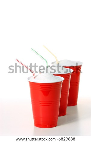 Three party cups full of sugar