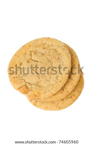 Three Peanut Butter Cookies Isolated on a White Background