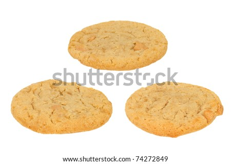 Three Peanut Butter Cookies on a White Background - stock photo