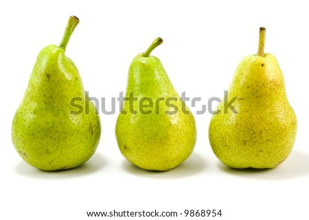three pears isolated over white