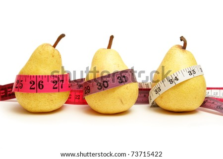 Three pears represent the stages of waistline measurements while losing weight with healthy eating habits.