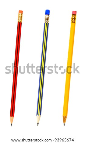 Three pencils isolated on white background