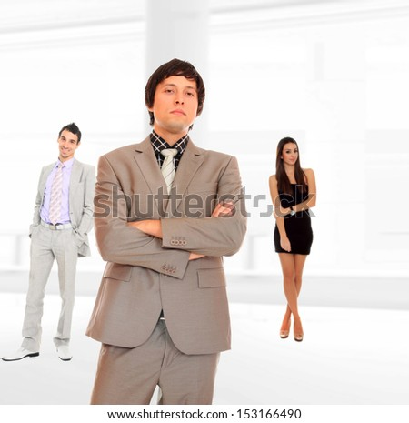 three people Business team at the office building