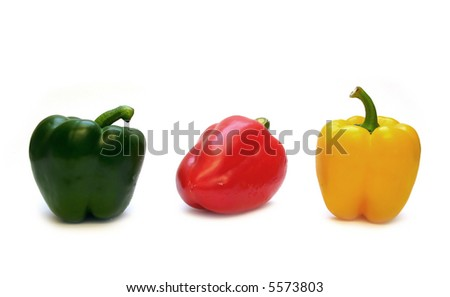 three peppers on white background