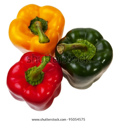 Three peppers red, green and yellow top view, isolated over white background.