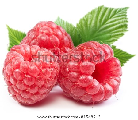 Three perfect ripe raspberries. Isolated on a white background.