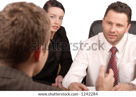 Three persons business meeting   - isolated