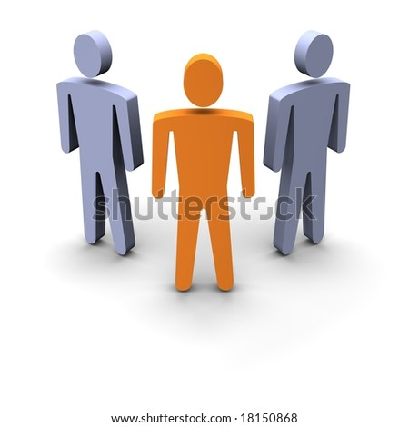 Three persons group. 3d rendered illustration.