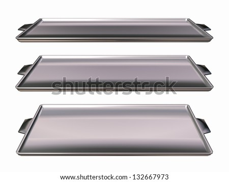 three perspectives of a silver cookie sheet or baking plate