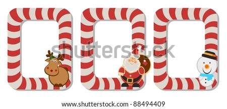 Three photo frames with santa,snowman and deer/Three funny xmas photo frames - stock photo