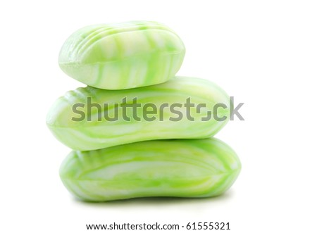 Three pieces of green aromatic soap, for bath and relaxation - stock photo